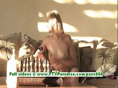 Liz sexy blonde woman toying pussy with a big vibrator
