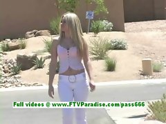 Alison busty stunning blonde woman flashing tits outdoor
