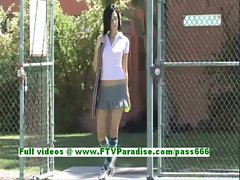 Shanel superb brunette woman playing tenis and public flashing tits
