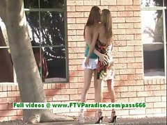 Leslie and Danielle busty blonde lesbians kissing and fingering pussy
