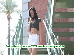 Stephanie hot brunette girl toying pussy with a vibrator