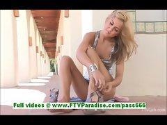 Ashley angelic blonde girl toying pussy with a large vibrator