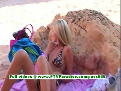 Suzanna gorgeous blonde woman fingering pussy on the beach