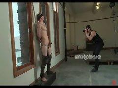 Gay male slave gets blindfolded