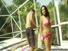 Busty Rikki Nyx fucks her friend&rsquo_s big cocked boyfriend by the pool