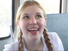 school bus driver and two schoolgirls