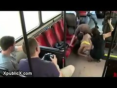 Tied blonde babe Uma pounding in city bus in Berlin