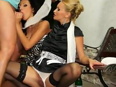 Glamorous fetish threesome sluts
