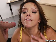 Juicy Francesca Le gets covered with scrotum juice