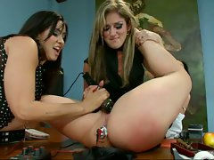 Lesbians Isis and Felicia fuck each other hard with their toys