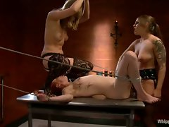 Krystal joins in some nasty playtime with two her two hot lesbian friends