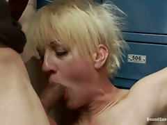 Alluring blonde whore gobbles down a huge fuck shaft
