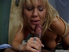 Slutty Chennin Blanc blows a throbbing dick until it spews cum.