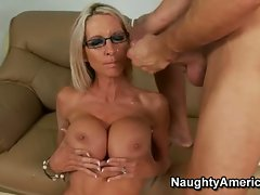 Emma Starr loves a hot cum bath all over her massive tits