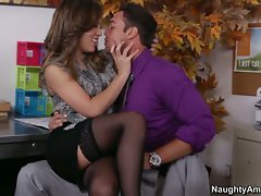 Kristina Rose teasing the boss while in the office