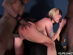 Milf ex girlfriend gets fucked hard while sucking aqnother cock.