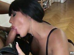 Yummy...Hotty Amanda Black licks and sucks on a big juicy shaft