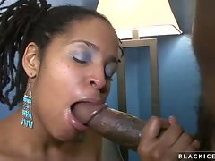 Sexy ebony slut filling her hot mouth up with a long dick and loving it