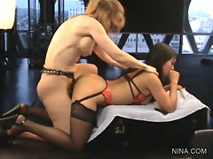 Scorching Mika Tan gets fucked by Nina Hartley