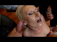 Filthy Samantha White gets showered in cock sauce