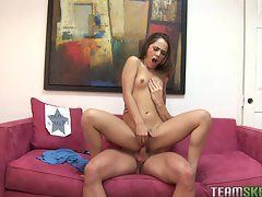 Sexy Kristina Rose riding hard cock in her tight twat