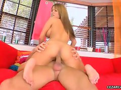 Pert and pretty Jodi Bean rides a meat pole like a carousel horse