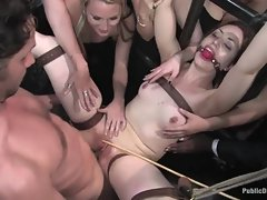 Gagged bitch has large cock rammed inside her tight wet twat
