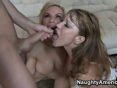 Sexy mommas Ava and Diamond love sharing a spewing cock in their hot mouths
