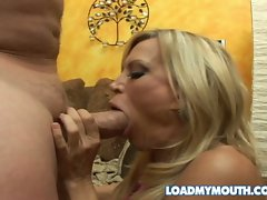 Hot milf Amber Lynn gets her mouth drilled by a monster cock.