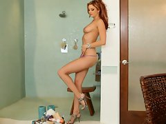 Jayden Cole hottie in purple undies in shower room