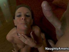 Super hot Sara Bricks gets a warm load of cum shot in her mouth