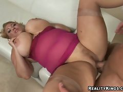 Busty and sexy Samantha 38G getting her pussy rammed nice and hard