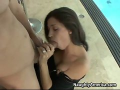 Sexy Latina whore Uma Stone takes a monster cock in her mouth like candy.