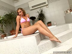Kathia Nobili sexy in pink lingerie in her bath room