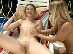 Nikky Thorne with her girlfriend play each other body