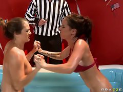 Brandy Aniston and Trina Michaels fight on mini pool