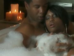 Jade Fire intimate in the bath tub with black guy