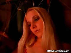 Hot slutty blonde gets her body covered part1