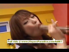 Japanese AV model enjoys doing blowjob