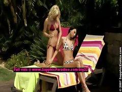 Debby and Jenny lesbo teen girls teasing