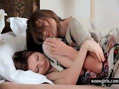 Teen lesbians kissing sensually