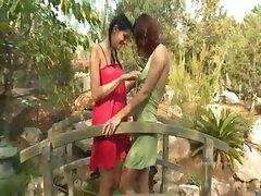 Beautiful girls licking cunts outdoors