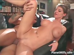 Amazing busty slut rides his man on the part1