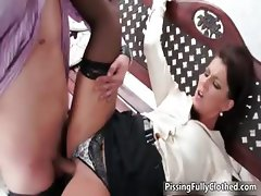 Horny brunette woman goes crazy riding part1