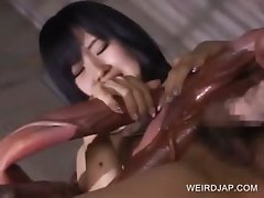 Asian slave gets wrapped in tentacles