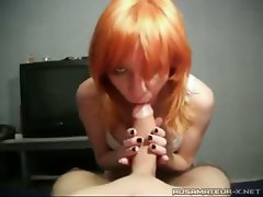 Russian girl Nastya doing a blowjob to a friend