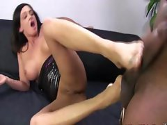 Fetish slut interracial footjob and cumshot