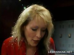 Lesbo gets butt slapped by slutty mistress