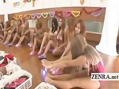 Subtitled group of tan Japan gyaru change into bikinis