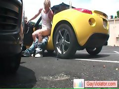 Blond dude gets rectum fucked in car part4